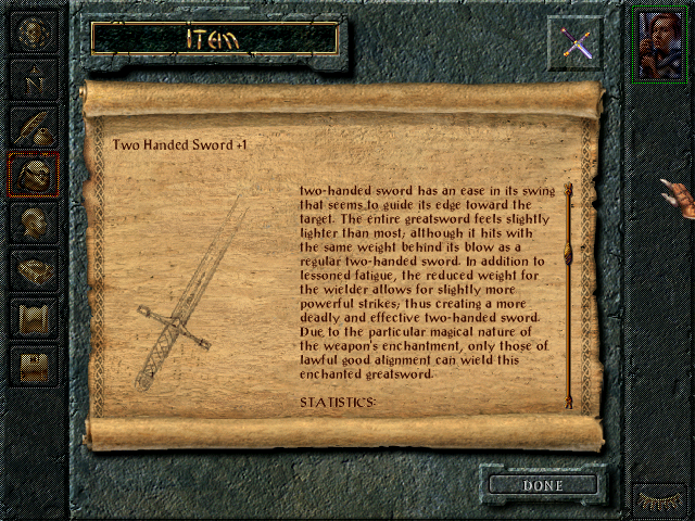 Sword item description