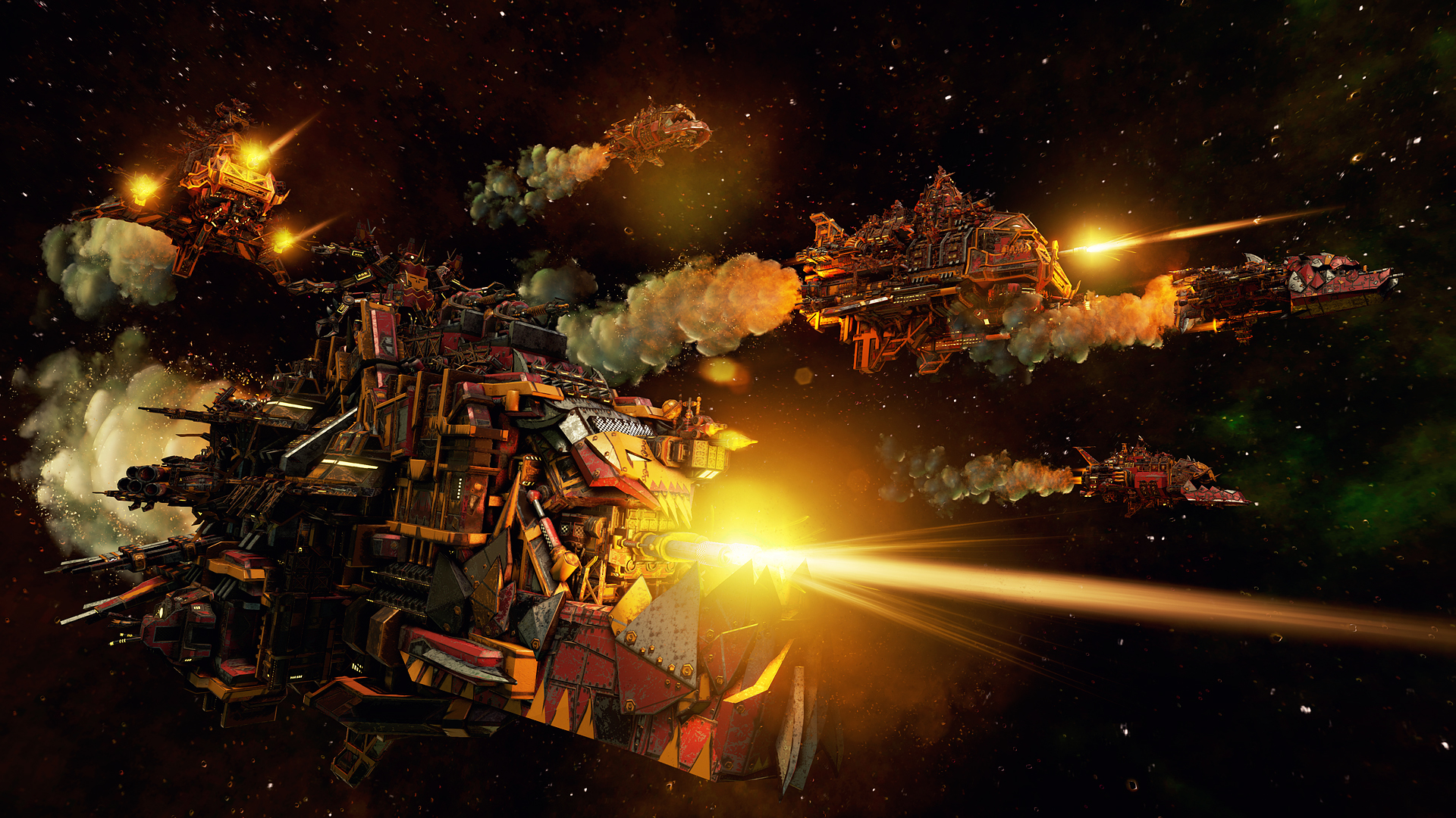 Ork ships are massive hybrids of scrap metal and firepower.