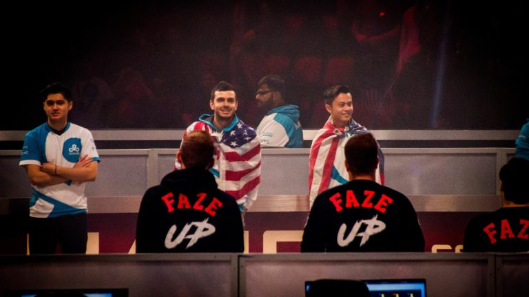 Before the first game is played, the players of Cloud9 and Faze Clan face-off at the ELeague Major: Boston Finals.