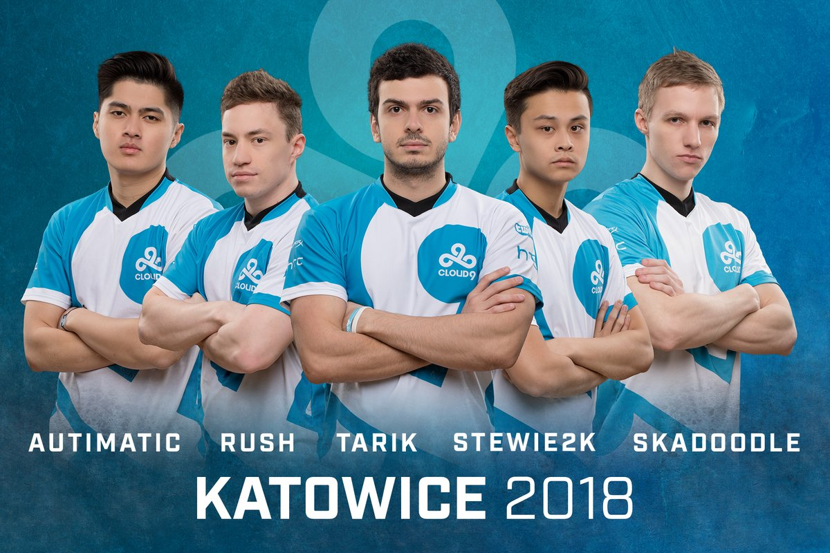 Cloud9's squad heading into Katowice (Left to Right): autimatic, RUSH, tarik, Stewie2K, & Skadoodle
