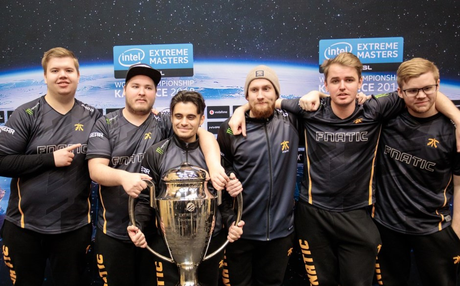 Fnatic hold their trophy after defeating Faze Clan 3-2 in the finals of IEM Katowice (Left to Right): JW, flusha, Golden, KRIMZ, lekr0, & coach pita
