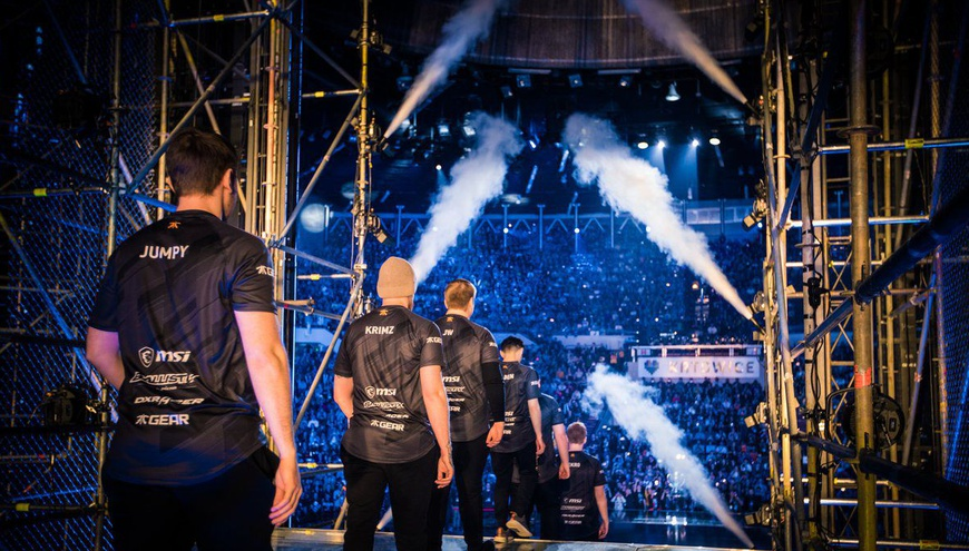 Fnatic walk onto the stage for the opening ceremony of the grand final before they play Faze Clan at IEM Katowice.