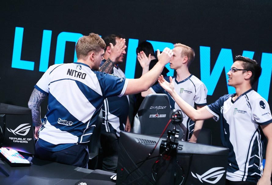Team Liquid congratulating each-other after they defeated Cloud9 2-0 at IEM Katowice.