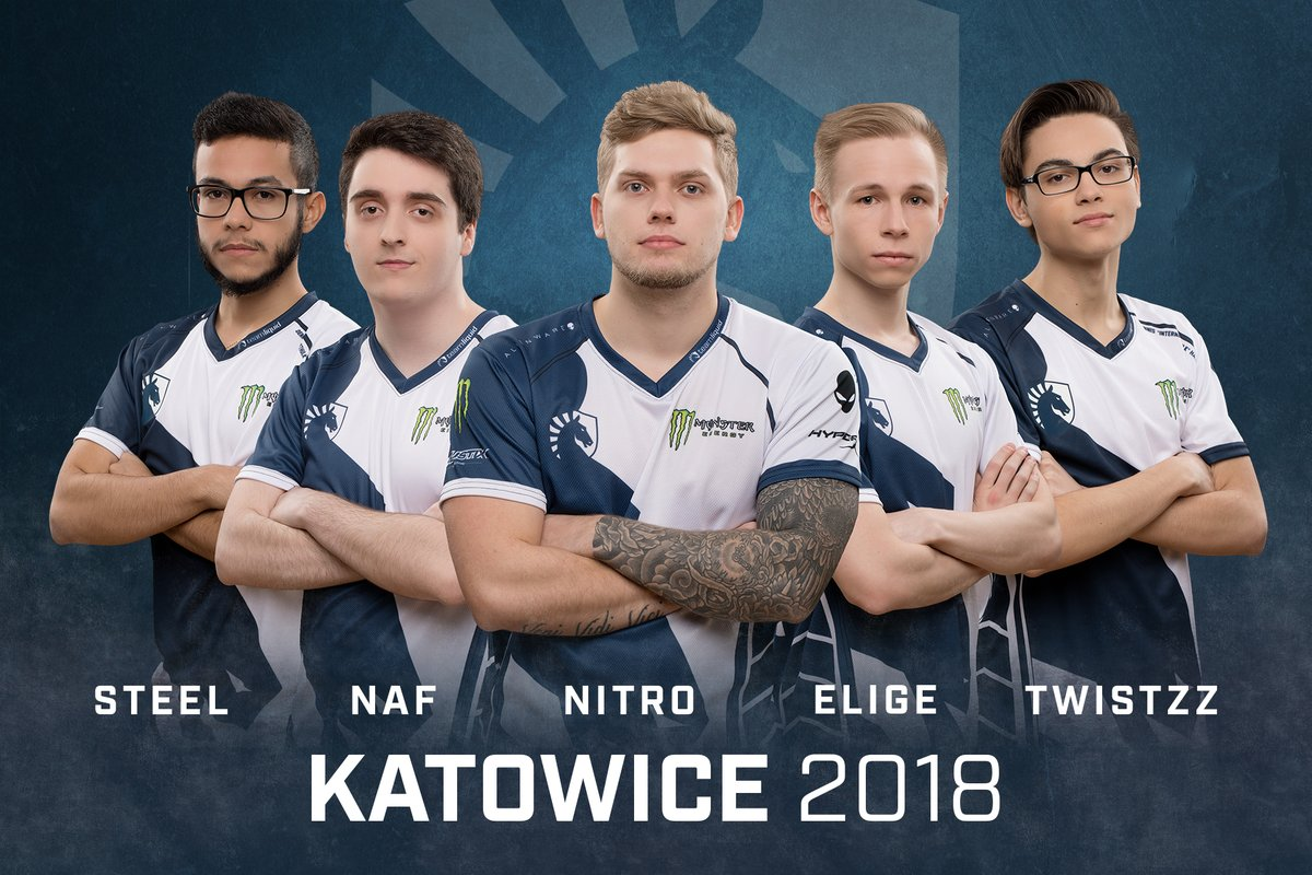Team Liquid's Squad heading into Katowice(Left to Right): steel, NAF, nitr0, EliGE, & Twistzz