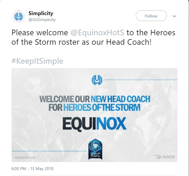 Simplicity welcomes Equinox as new head coach