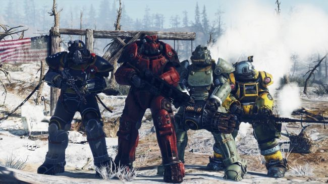 4 players in different colored power armor