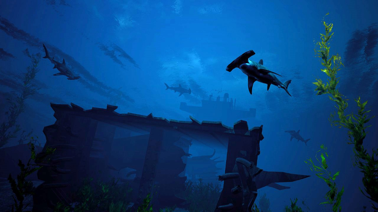 an underwater wreck surrounded by hammerhead sharks