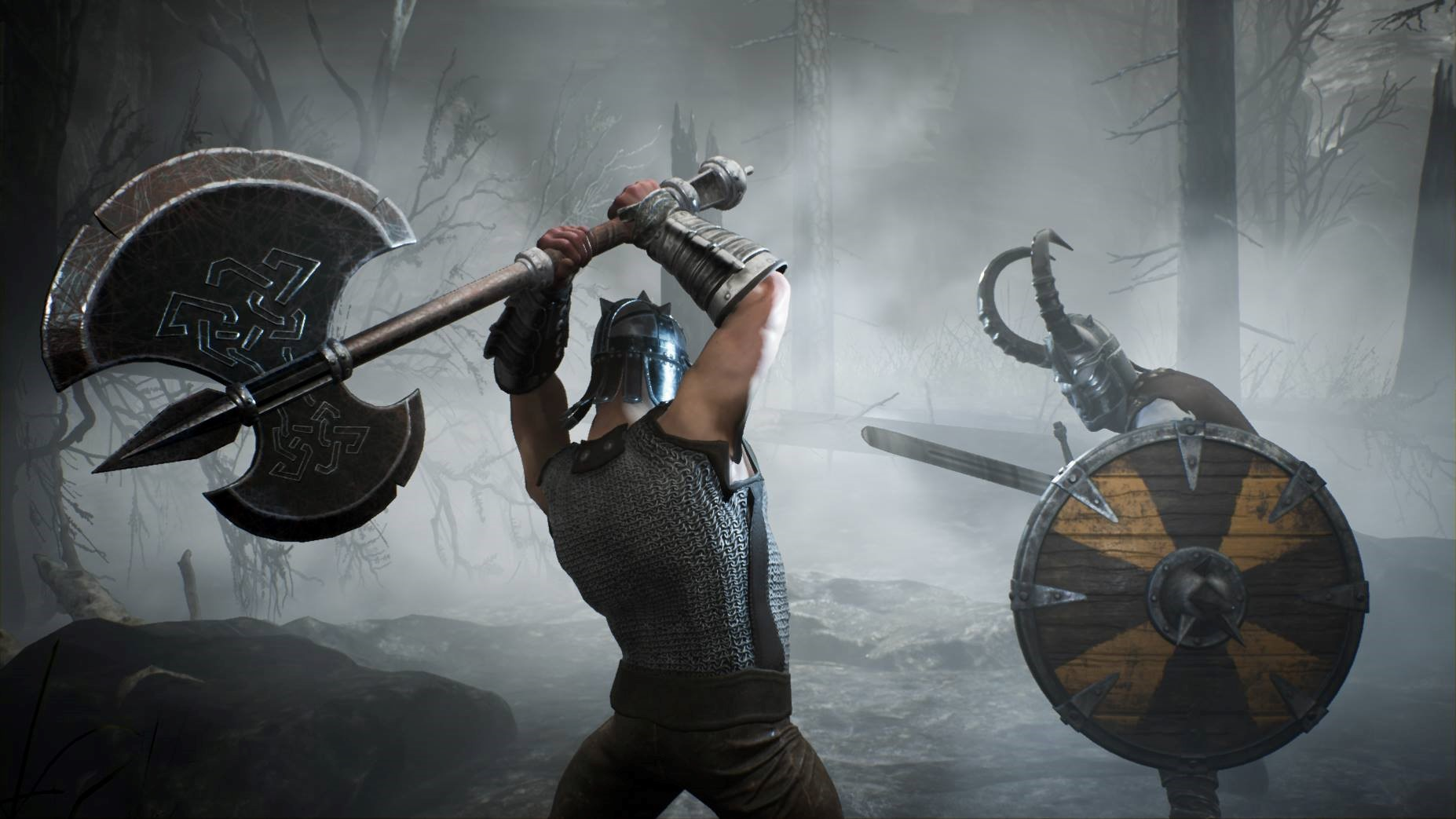 a man swinging an axe at a on guard undead soldier