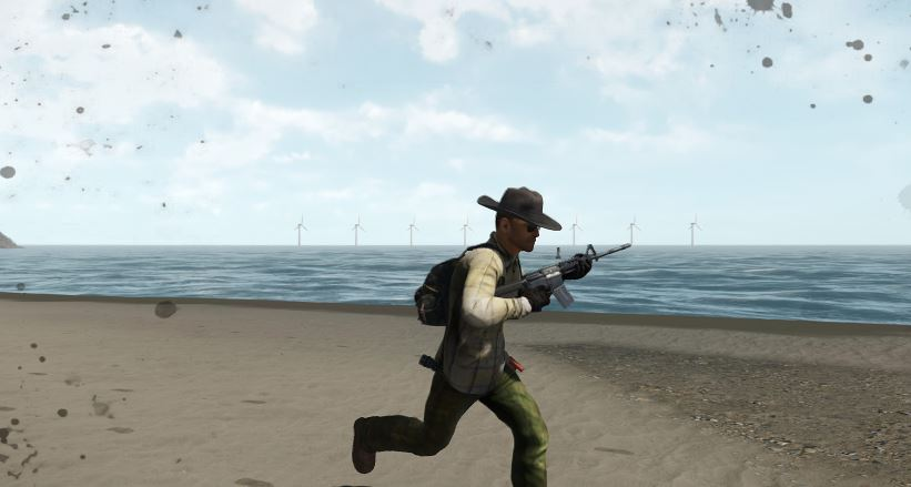 Player running along beach with a rifle and stylish hat
