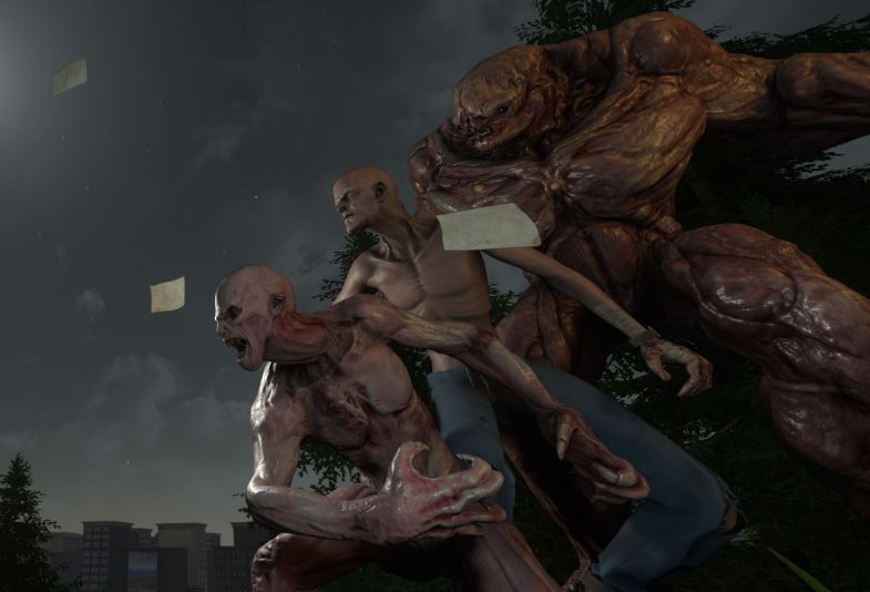 Three zombies of varying size and grossness.