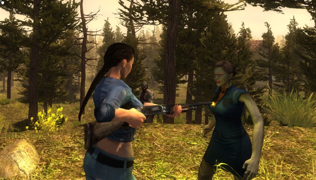 A woman blasts a zombie with a shotgun in 7 Days to Die