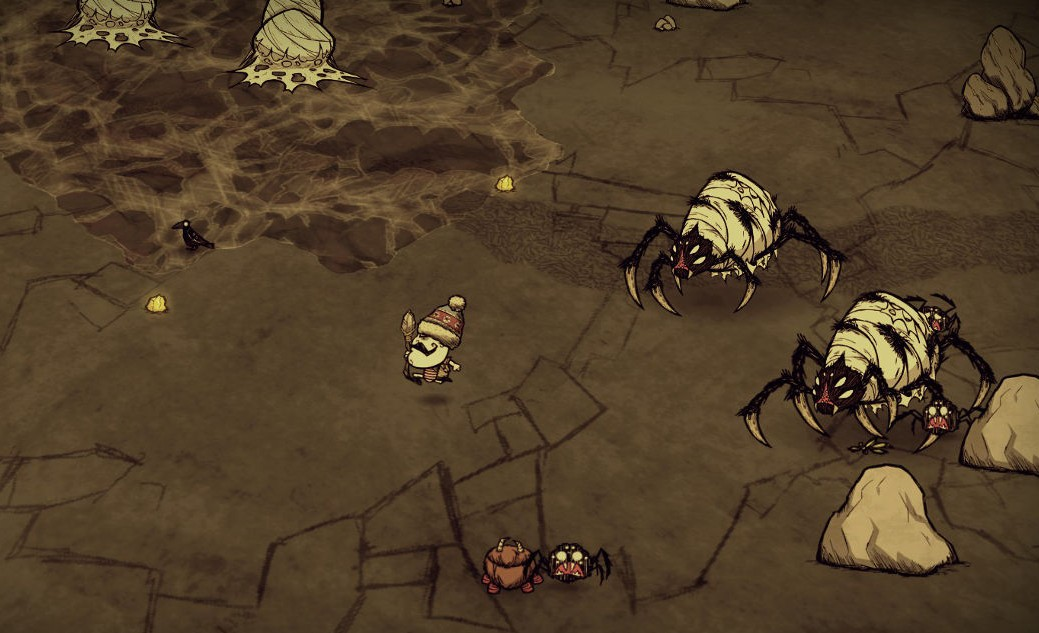 Giant spiders attack a small man in Don't Starve Together