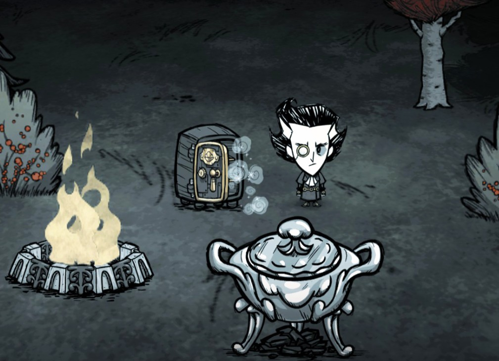 A man stands near a bonfire in Don't Starve Together