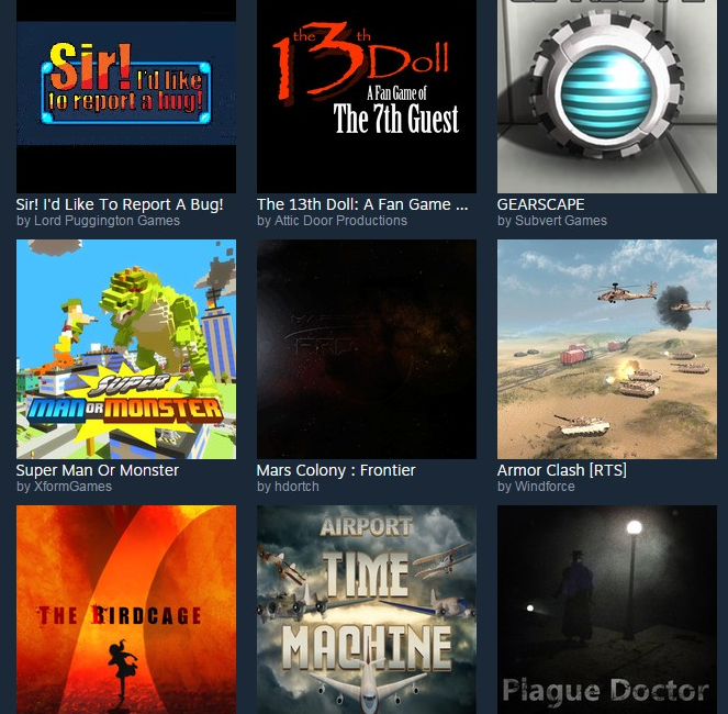 A sample of some games that were approved through Steam Greenlight.